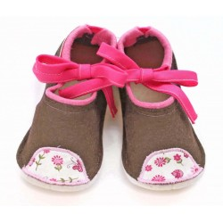 Kids Wool Felt Slippers - BROWN PINK birds (22) - LAST ONE