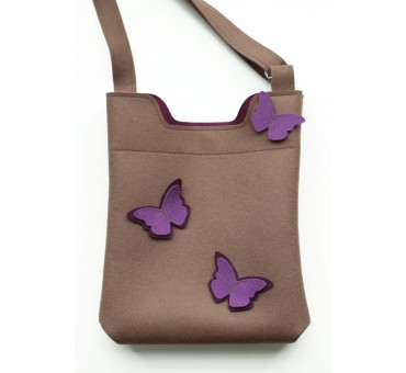 Wool Felt Bag - Light Brown Viola butterfly