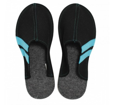 Men's Wool Felt Slippers - BLACK