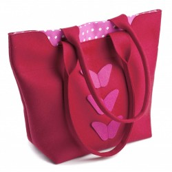 Velika torba iz filca - rdeča z metulji pike