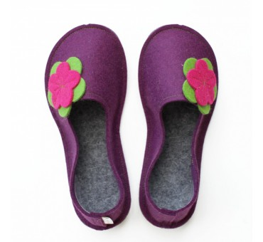 School Kids Wool Felt Slippers - VIOLA Flower