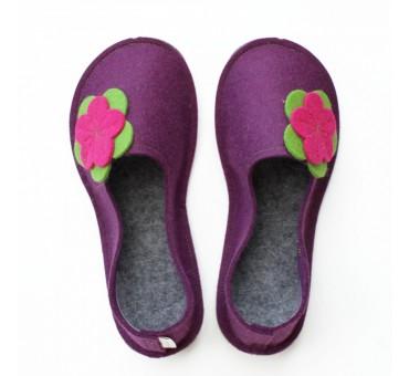 Šolski otroški copati iz filca - vijolični rožica