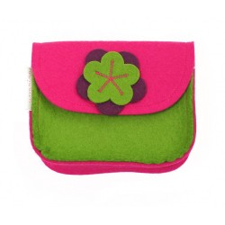Wool Felt Purse - Pink Green