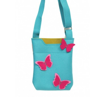 SmallBag - Wool Felt Bag -Light Blue Pink Butterfly