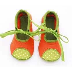 Baby Wool Felt Slippers - ORANGE GREEN (17) - LAST ONE