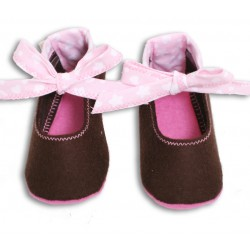 Baby Wool Felt Slippers - BROWN Bow