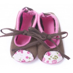 Baby Wool Felt Slippers - LIGHT BROWN birds