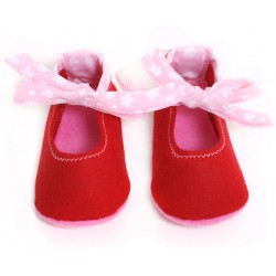 Baby Wool Felt Slippers - RED Bow