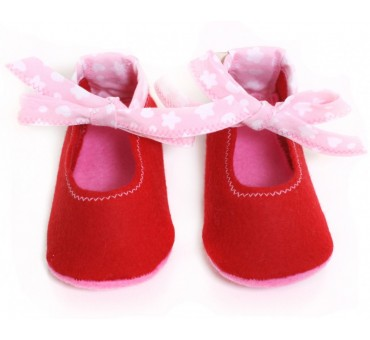 Copati iz filca za dojenčke - rdeči s pentljo