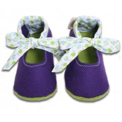 Baby Wool Felt Slippers - VIOLET bow (17) - LAST ONE