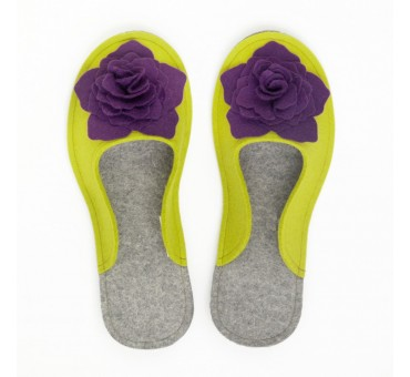 Women's Wool Felt Slippers 3D - MUSTARD