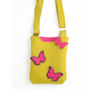 SmallBag - Wool Felt Bag - Mustard Butterfly