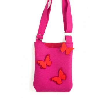 SmallBag - Wool Felt Bag - Pink Butterfly