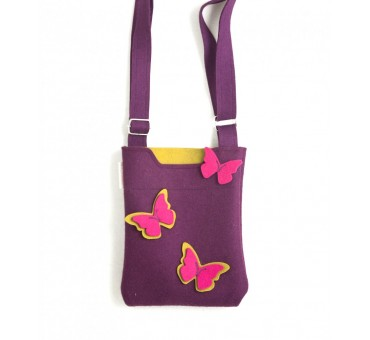 SmallBag - Wool Felt Bag - Violet Butterfly