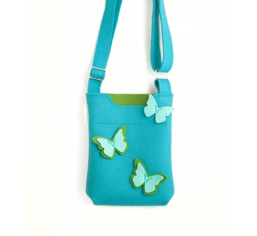 SmallBag - Wool Felt Bag - Light Blue Green Butterfly