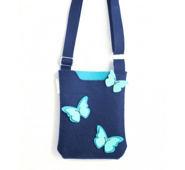 SmallBag - Wool Felt Bag - Navy Blue Butterfly