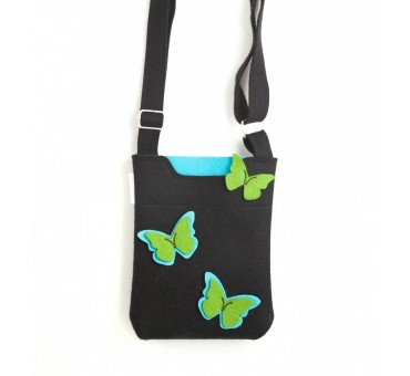 SmallBag - Wool Felt Bag - Black Butterfly