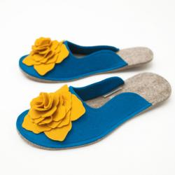 Women's Wool Felt Slippers 3D - BLUE