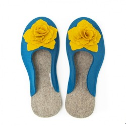 Women's Wool Felt Slippers 3D - BLUE