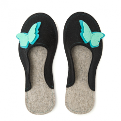 Women's Wool Felt Slippers - Butterfly BLACK