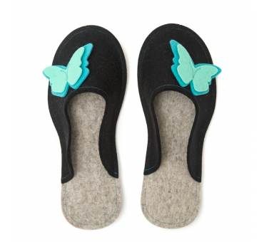 Women's Wool Felt Slippers - BLACK Butterfly