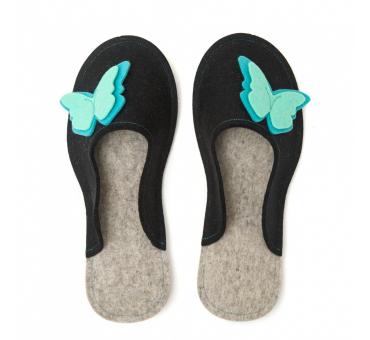 Women's Wool Felt Slippers - BLACK Butterfly