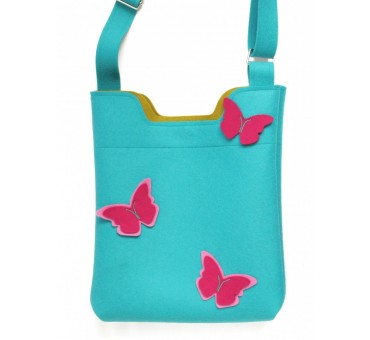 Ženska torbica iz filca - modra z metulji