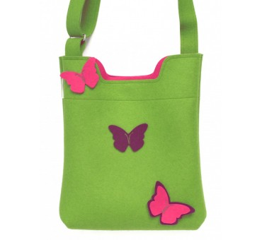 Wool Felt Bag - Green Butterfly