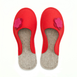 Women's Wool Felt Slippers - Flower RED