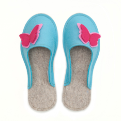 Women's Wool Felt Slippers - Butterfly BLUE