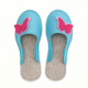 Women's Wool Felt Slippers - BLUE Butterfly