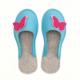 Women's Wool Felt Slippers - BLUE Butterfly