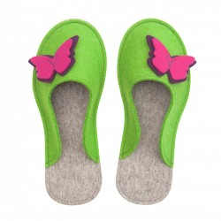Women's Wool Felt Slippers - Butterfly GREEN