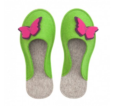 Women's Wool Felt Slippers - GREEN Butterfly