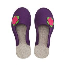 Women's Wool Felt Slippers - Flower VIOLA