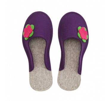 Women's Wool Felt Slippers - VIOLA Flower