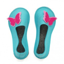 School Kids Wool Felt Slippers - BLUE Butterfly
