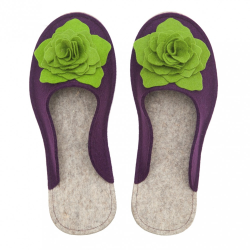 Women's Wool Felt Slippers 3D - VIOLA & GREEN
