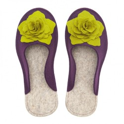 Women's Wool Felt Slippers 3D - VIOLA & MUSTARD GREEN
