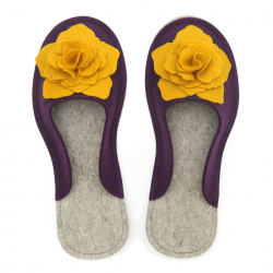 Women's Wool Felt Slippers 3D - VIOLA & YELLOW