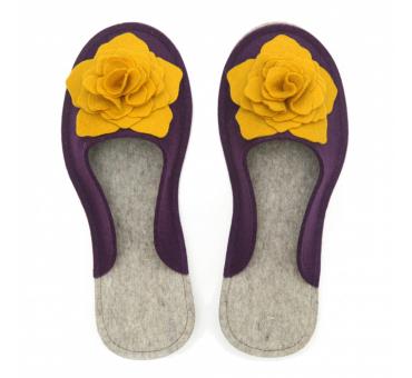 Women's Wool Felt Slippers 3D - VIOLA & YELLOW