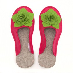 Women's Wool Felt Slippers 3D - PINK
