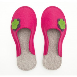 Women's Wool Felt Slippers - Flower PINK