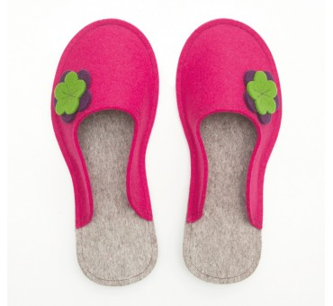 Women's Wool Felt Slippers - PINK Flower