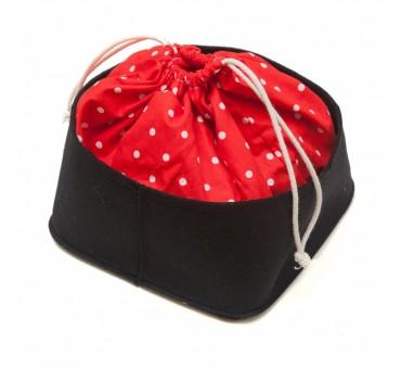 Košarica za kruh - rdeča in črna s pikami