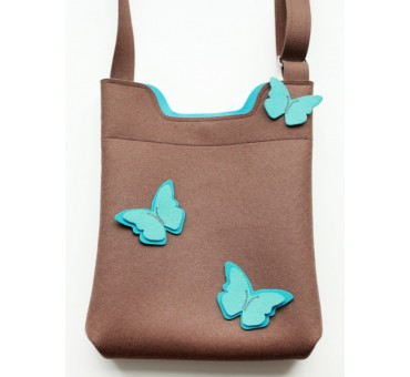 Wool Felt Bag - Light brown Butterfly