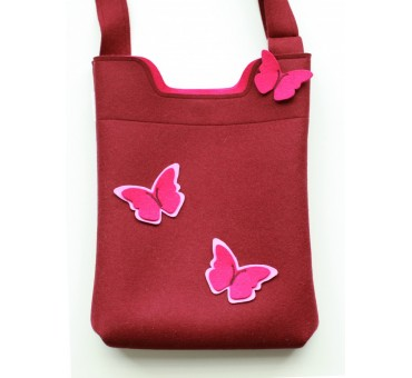 Wool Felt Bag - Bordeaux butterfly