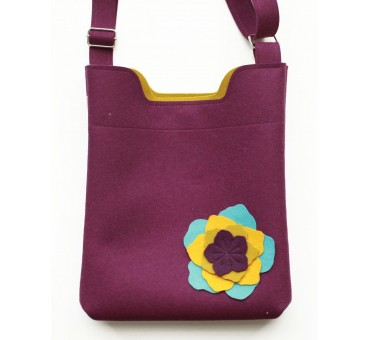 Wool Felt Bag - Viola Flower