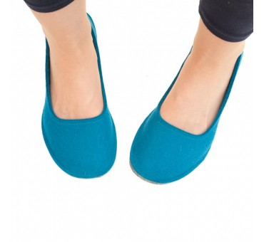 Women's Wool Felt Slippers - Ballerina ELECTRIC BLUE