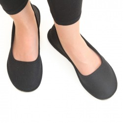 Women's Wool Felt Slippers - Ballerina BLACK